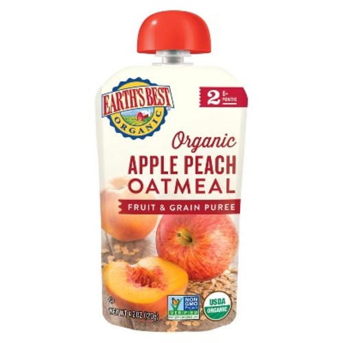 Earth's Best Organic Stage 2 Apple Peach Oatmeal Baby Food 4.2 oz