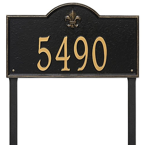 Whitehall Products Bayou Vista Estate Lawn House Numbers Plaque in Black/G