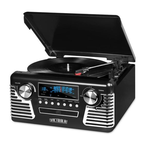 Victrola Retro Style Turntable with Bluetooth and CD Player in Black