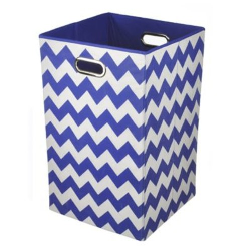 Modern Littles Chevron Folding Laundry Basket in Bold Blue