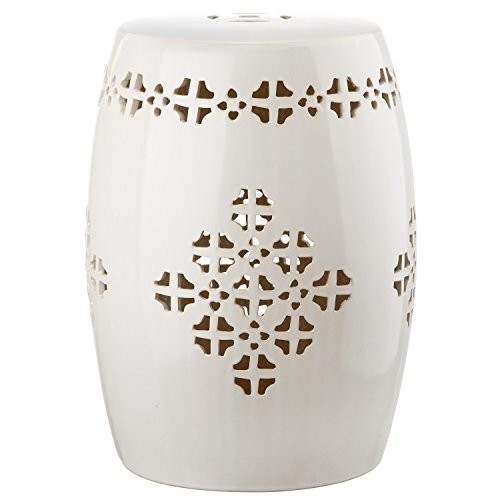 Safavieh Castle Gardens Collection Quatrefoil Cream Glazed Ceramic Garden Stool [Cream, 14 L x 14 W x 18 H]