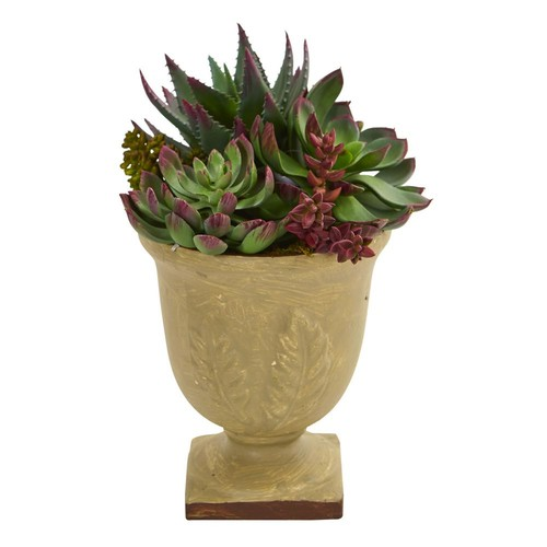 Nearly Natural 12 in. Mixed Succulent Artificial Plant