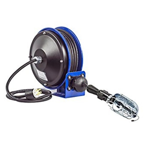 Coxreels PC10-3016-E Compact efficient heavy duty power cord reel with a incandescent caged drop light with tool tap [Incandescent Drop Light]