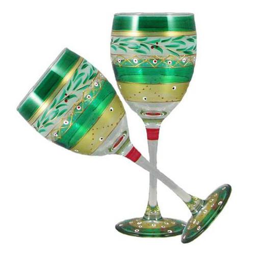 Christmas Garland Wine Glass