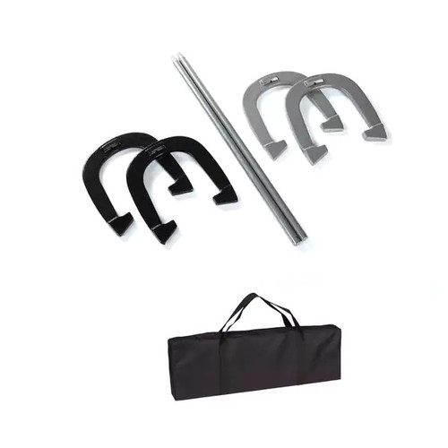 Trademark Innovations Black and Grey Premium Reinforced Carbon Steel Horseshoe Set With Carry Bag