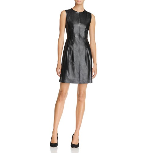 THEORY Fit-And-Flare Leather & Ponte Dress