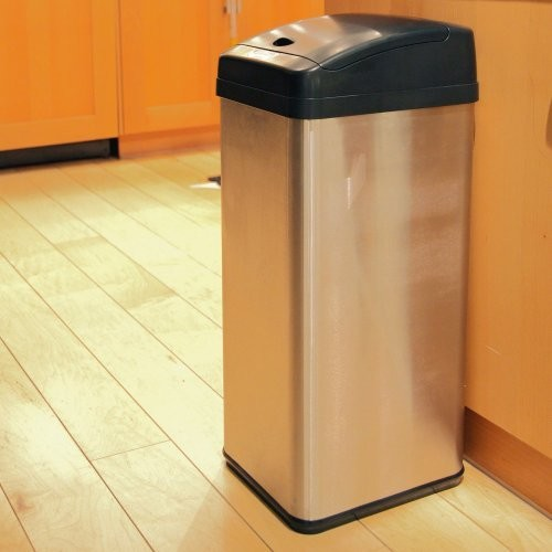 iTouchless 13 Gallon Stainless Steel Automatic Trash Can with Odor Control System, Big Lid Opening Sensor Touchless Kitchen Trash Bin [Brush Stainless Steel]