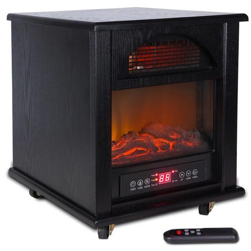Della Portable Electric Fireplace Stove Flame Heater w/ Remote Control, 1500-Watt, Black