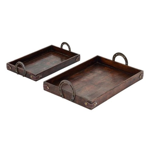 Benzara Brown Wood/Metal/Leather Contemporary Tray (Set of 2) - Brown