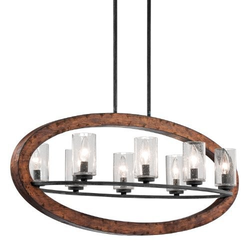 Kichler 43191AUB Grand Bank Linear Chandelier 8-Light, Auburn Stained Finish