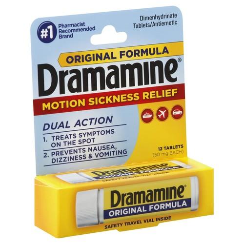 Dramamine Motion Sickness Relief, Original Formula, 50 mg, Tablets 12 tablets