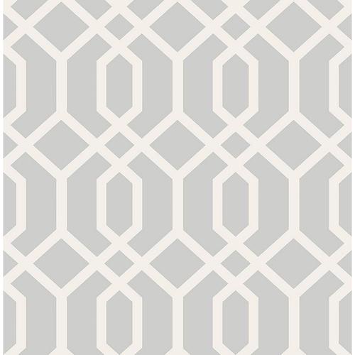 Brewster Trellis Grey Montauk Wallpaper
