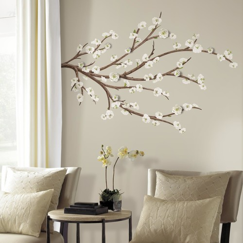 RoomMates White Blossom Branch Peel and Stick Giant Wall Decals w/ Flower Embellishments