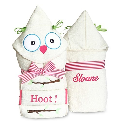 Silly Phillie Creations Owl Hooded Baby Girl Towel Set
