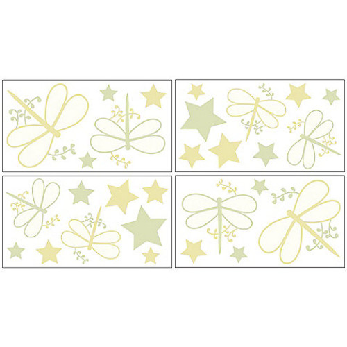 Sweet Jojo Designs Dragonfly Dreams Wall Decals in Green (Set of 4)