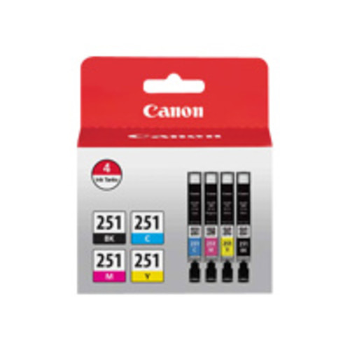 Canon CLI-251 BK/CMY Ink Cartridge Value Pack - Cyan, Magenta, Yellow, Black