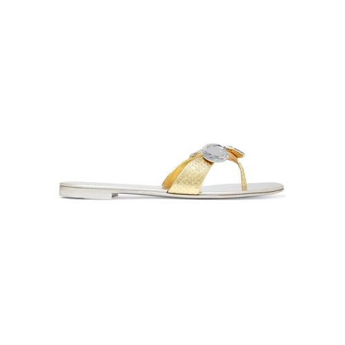 Embellished metallic snake-effect leather sandals