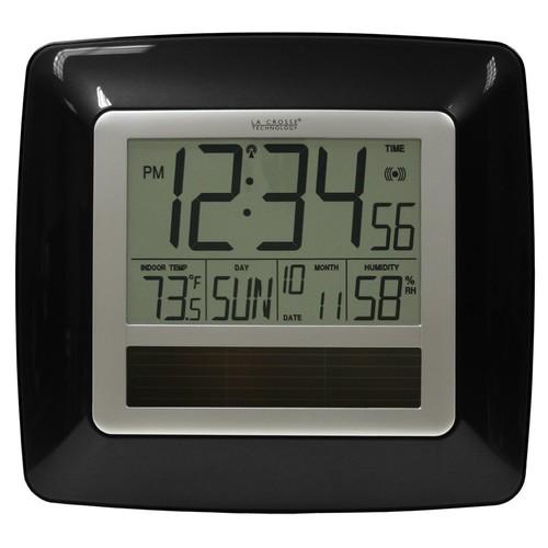 La Crosse Technology WT-8112U-BK Solar Atomic Digital Clock with Indoor Temperature, Humidity