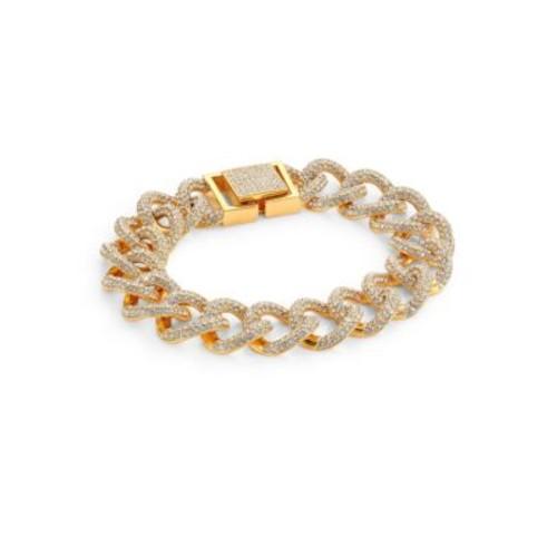 Crystal Pav Curb Link Bracelet/Goldtone