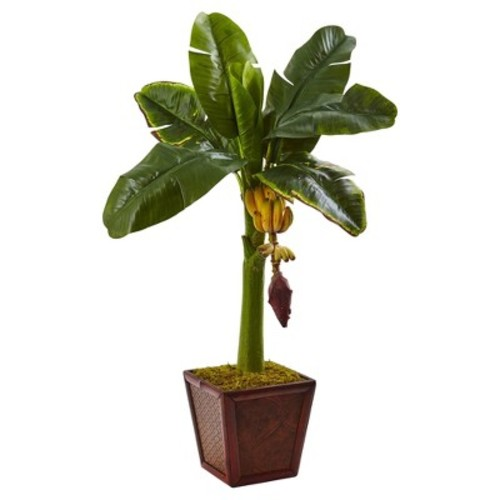 Banana Tree in Wooden Planter - Nearly Natural