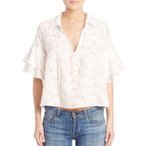 FOR LOVE & LEMONS Buttercup Ruffled Sleeve Silk Blend Blouse