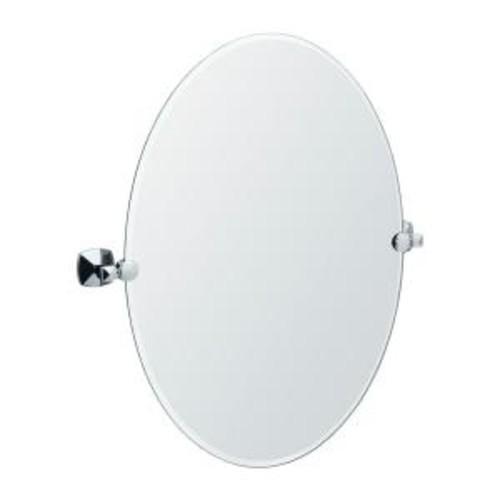 Gatco Jewel 26.5 in. x 24 in. Frameless Oval Mirror in Chrome