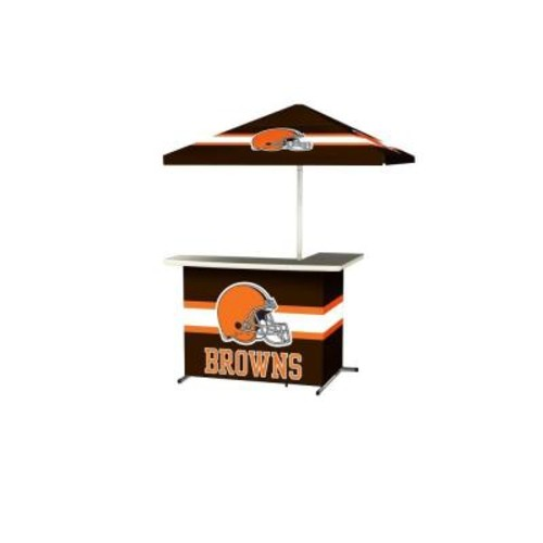 Best of Times Cleveland Browns All-Weather L-Shaped Patio Bar with 6 ft. Umbrella