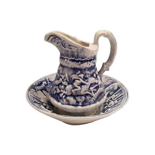 Ceramic Blue & White Pitcher And Basin