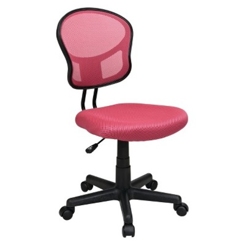 Office Star Mesh Back Armless Task Chair with Padded Fabric Seat, Pink