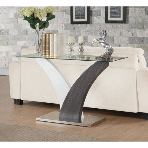 ACME Furniture Clear Glass, White and Walnut Forest Sofa Table