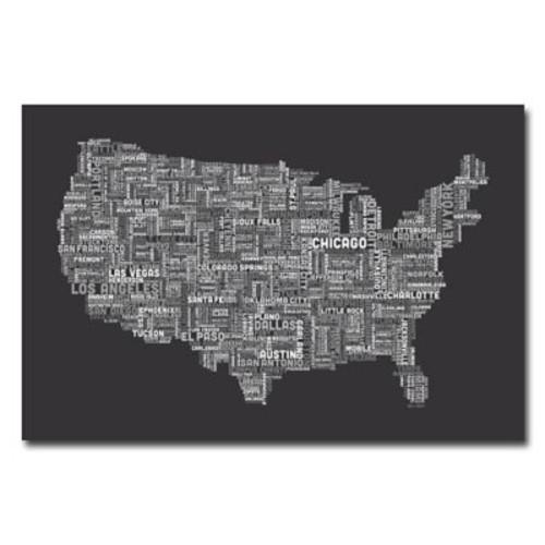 Trademark Fine Art Michael Tompsett 'US Cities Text Map IV' Canvas Art