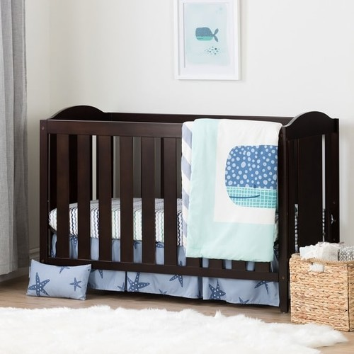 South Shore Angel Espresso and Blue Crib with Toddler Rail and Little Whale 4-Piece Bed Set [option : Angel Crib and Whale Bed Set, Espresso and Blue]