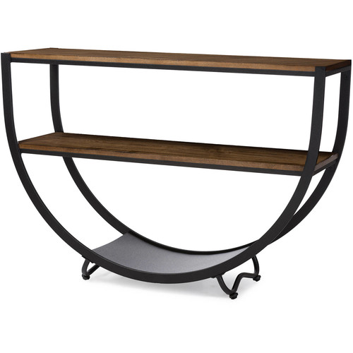 Baxton Studio Blakes Rustic Industrial-Style Antique Black Textured Finish Metal Distressed Wood Console Table