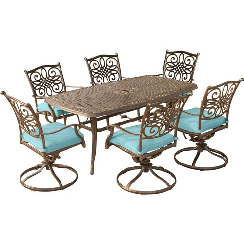 Hanover Traditions 7-Piece Aluminum Outdoor Dining Set with Rectangular Cast-Top Table and Swivel Chairs with Blue Cushions
