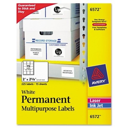 Avery  6572 White Permanent Durable ID Label With TrueBlock  Technology, 2