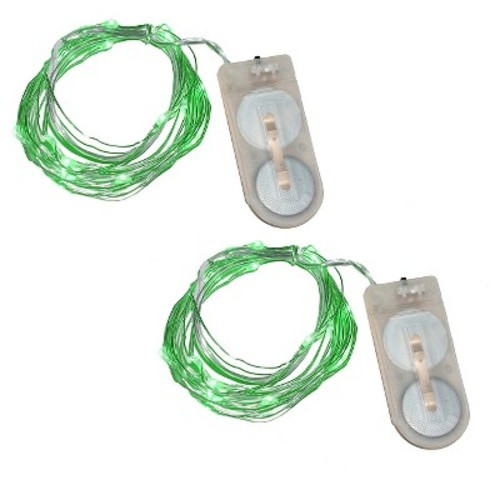 2ct Lumabase Green Submersible LED Mini String Lights
