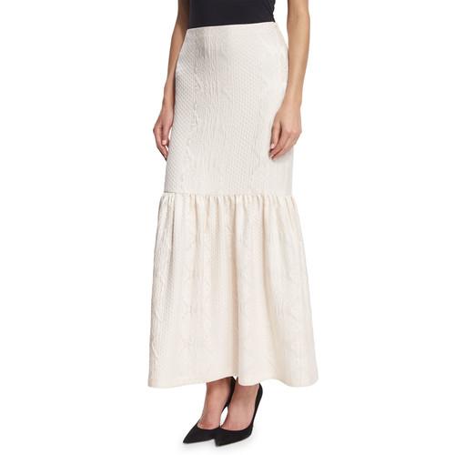 THE ROW Textured Cloque Peplum Maxi Skirt, Ivory