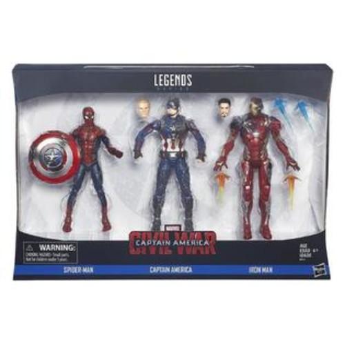 Hasbro Captain America Civil War Legends 3PK Marvel Spider-Man Iron Man Figures Movie Hasbro B8215