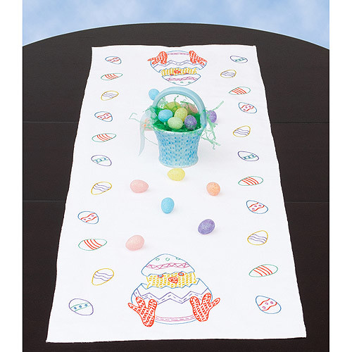 Jack Dempsey Easter Stamped Table Runner/Scarf Sewing Kit, 15