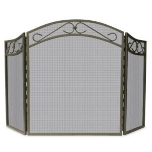 UniFlame Bronze Wrought Iron 3-Panel Fireplace Screen with Decorative Scroll