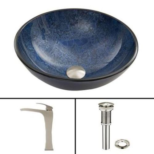 VIGO Glass Vessel Sink in Indigo Eclipse and Blackstonian Faucet Set in Brushed Nickel