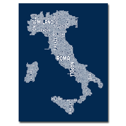 Trademark Global Michael Tompsett 'Italy City Map II' Canvas Art [Overall Dimensions : 35x47]