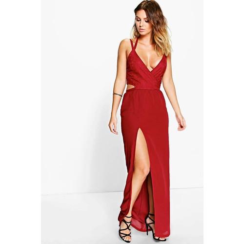 Boutique Alia Lace Top Chiffon Maxi Dress