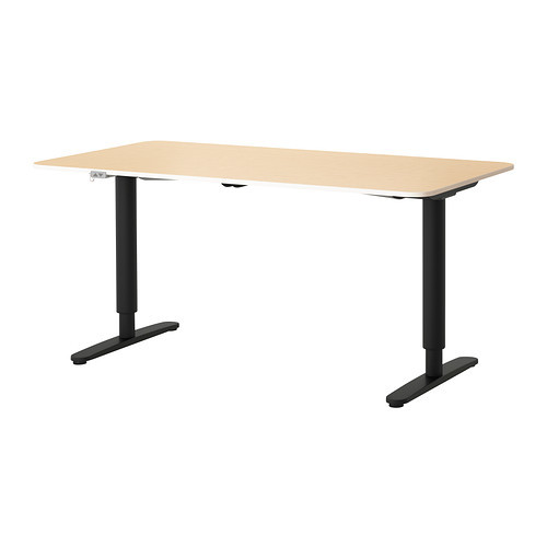 BEKANT Desk sit/stand, gray, white