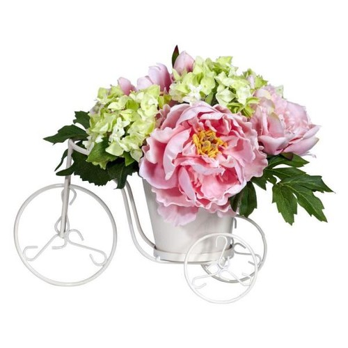 Nearly Natural 9.5 in. H Pink Peony and Hydrangea Tricycle Silk Flower Arrangement