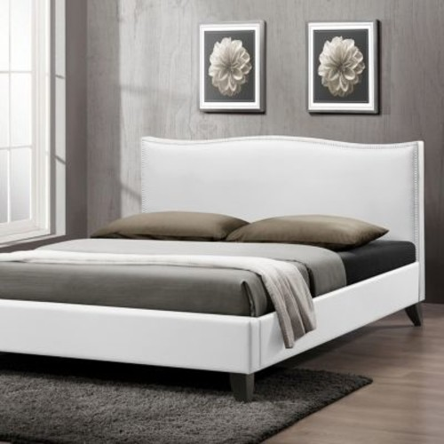 Baxton Studios Battersby White Modern Bed with Upholstered Headboard