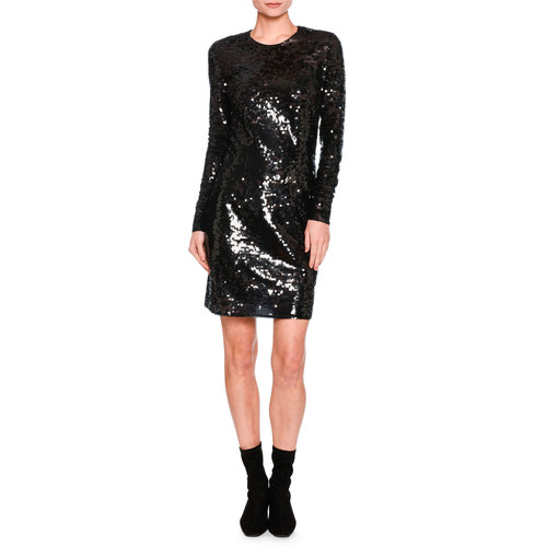 STELLA MCCARTNEY Katie Long-Sleeve Sequined Dress, Black