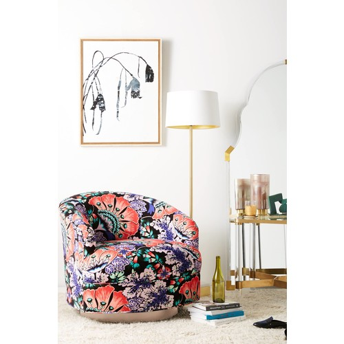 Liberty for Anthropologie Feather Bloom Amoret Swivel Chair [REGULAR]