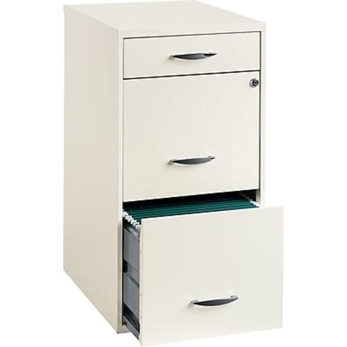 Office Designs 3 Drawer Vertical File Cabinet Cabinet, White, Letter, 18