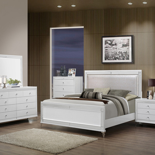QUEEN BED METALLIC WHITE